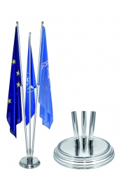 Indoor silver flag holder shiny, 3 flag pole