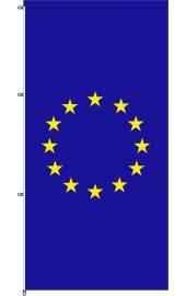 Carabined standing EU flag, wind rotating