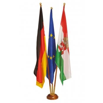 Indoor wooden flag holder 3 flag pole